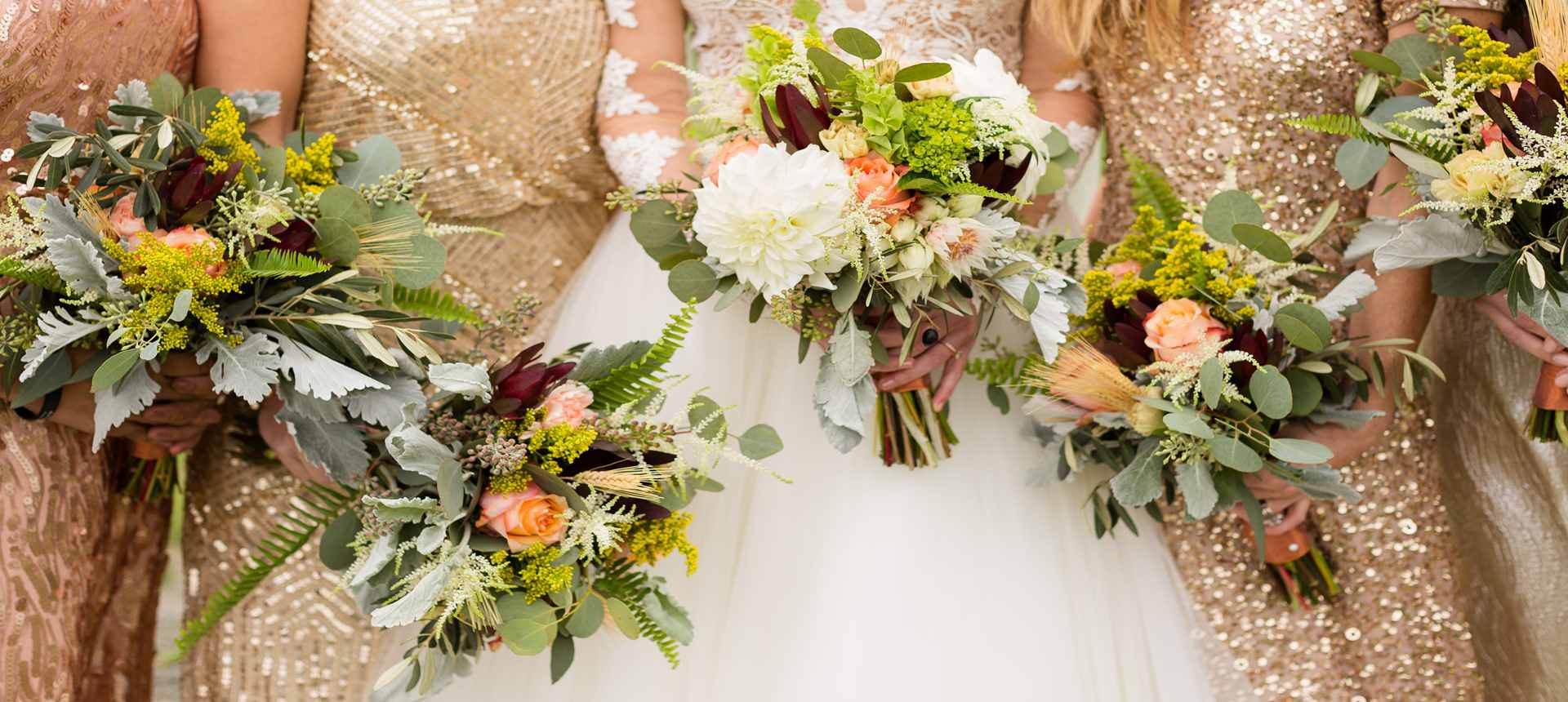 Photo of  bridesmaid's wedding bouquets at The Inn at Grace Farm