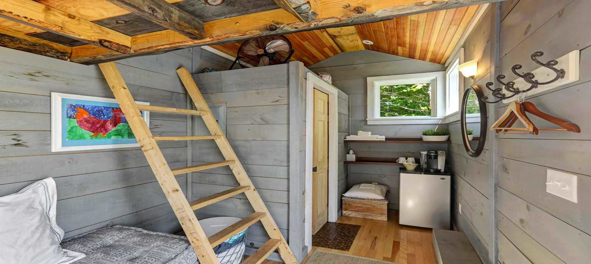 A second interior photo of the Tiny House at The Inn at Grace Farm